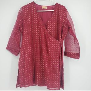 Fabindia Wrap Blouse Indian Lightweight Gold Red